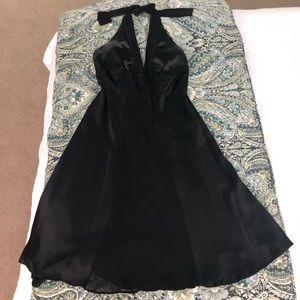 WHBM Black Silk Halter Dress